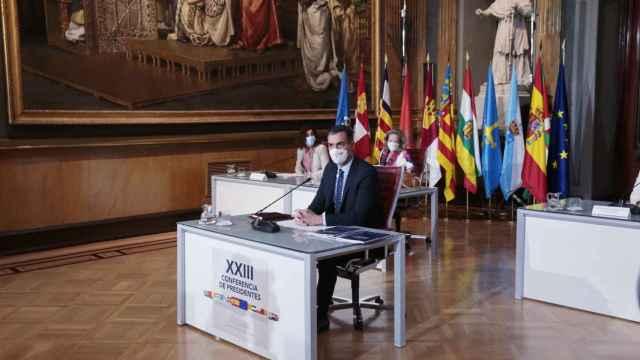 Pedro Sánchez, presidente del Gobierno, durante una de las conferencias de Presidentes.