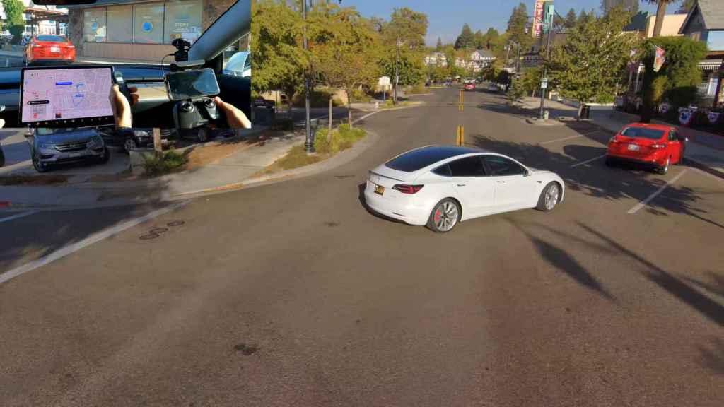 Un pequeño susto en un Tesla autónomo