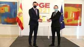 Pedro Sánchez y Pablo Iglesias, antes de la presentación de las líneas maestras de los Presupuestos.