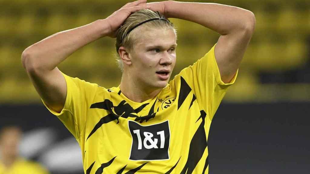 Erling Haaland, en un partido del Borussia Dortmund en la temporada 2020/2021