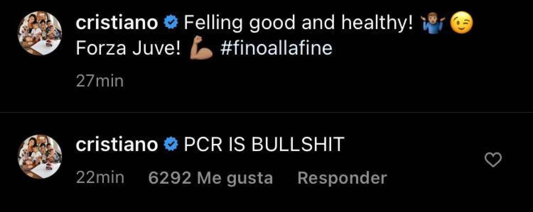 El mensaje de Cristiano Ronaldo