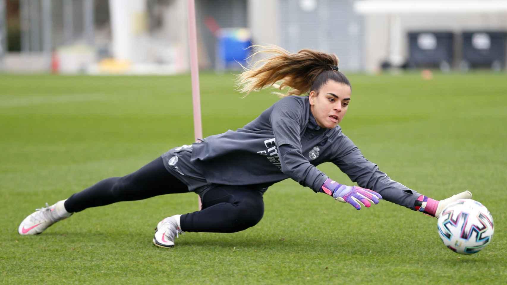Misa Rodríguez, durante un entrenamiento con el Real Madrid Femenino