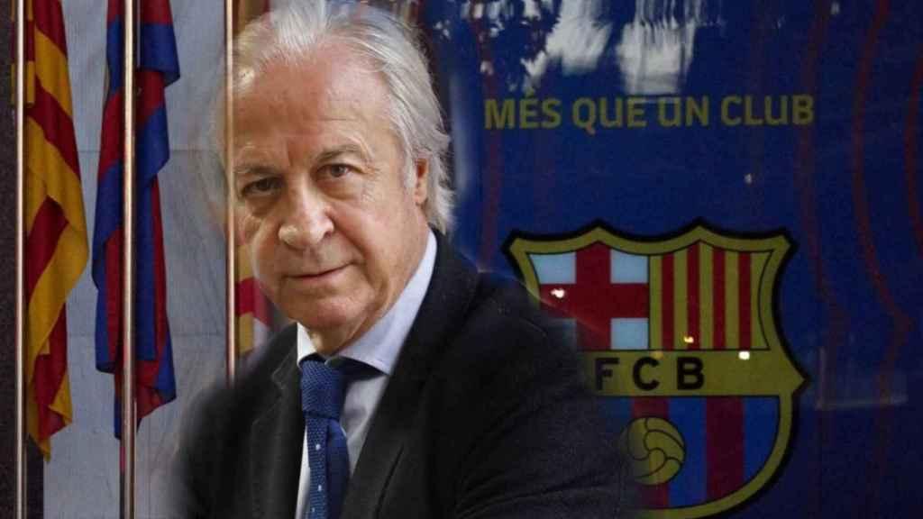 Carles Tusquets y las oficinas del Barça en un fotomontaje