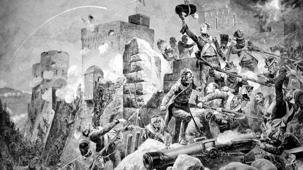 Recreación del asedio de Badajoz.