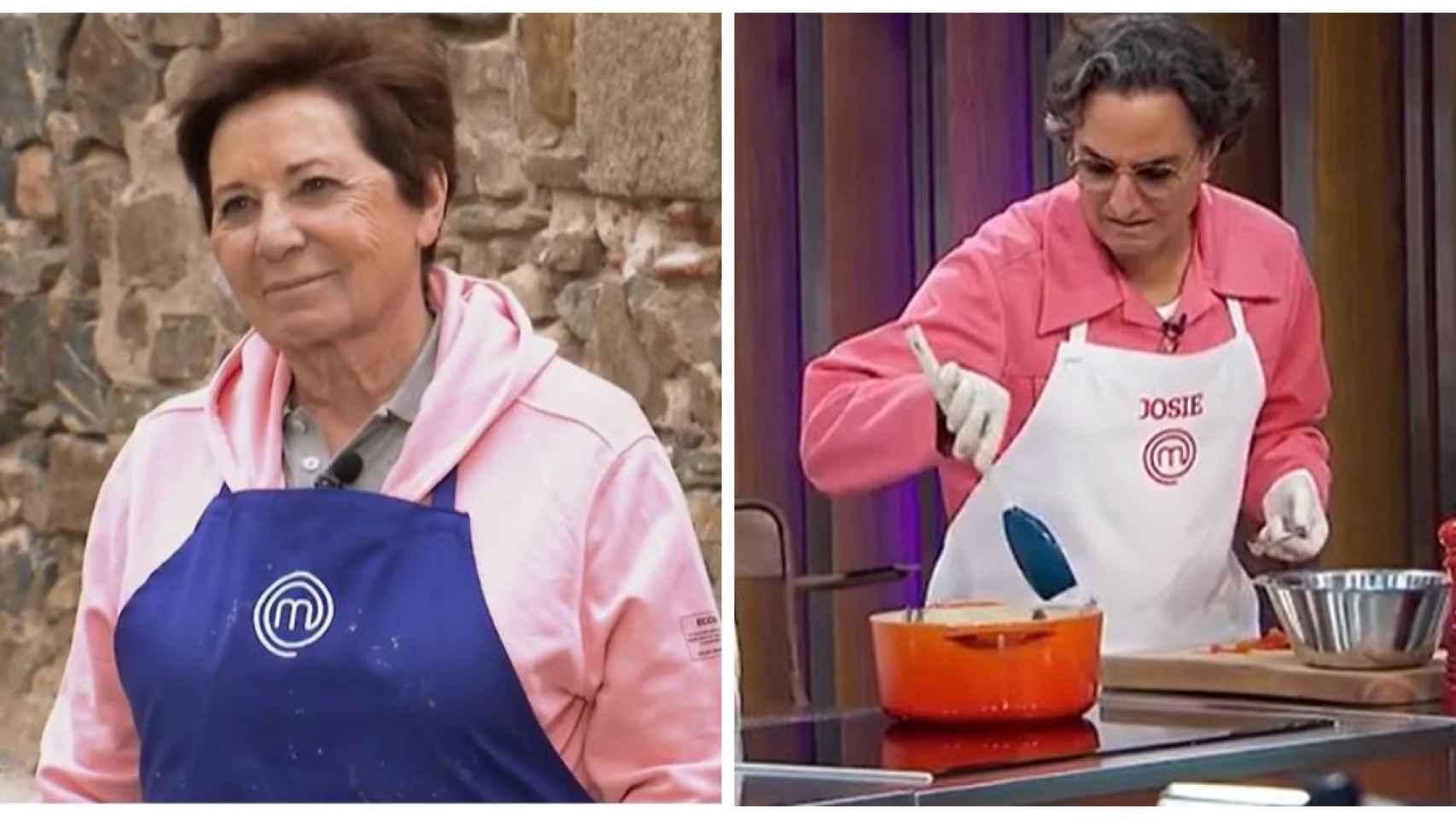 Celia Villalobos y Josie en dos momentos del programa.