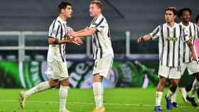 Morata se lamenta por un gol anulado con la Juventus