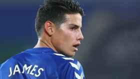 James Rodríguez, en un partido del Everton