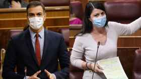 Pedro Sánchez y Macarena Olona en un fotomontaje.