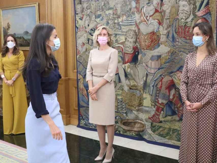 La reina Letizia en el palacio de la Zarzuela este jueves.