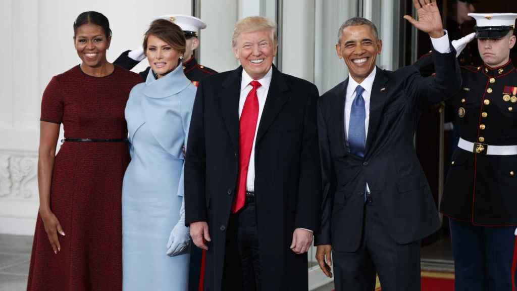 Michelle Obama, Melania Trump, Barack Obama y Donald Trump el día de la toma de posesión del magnate.