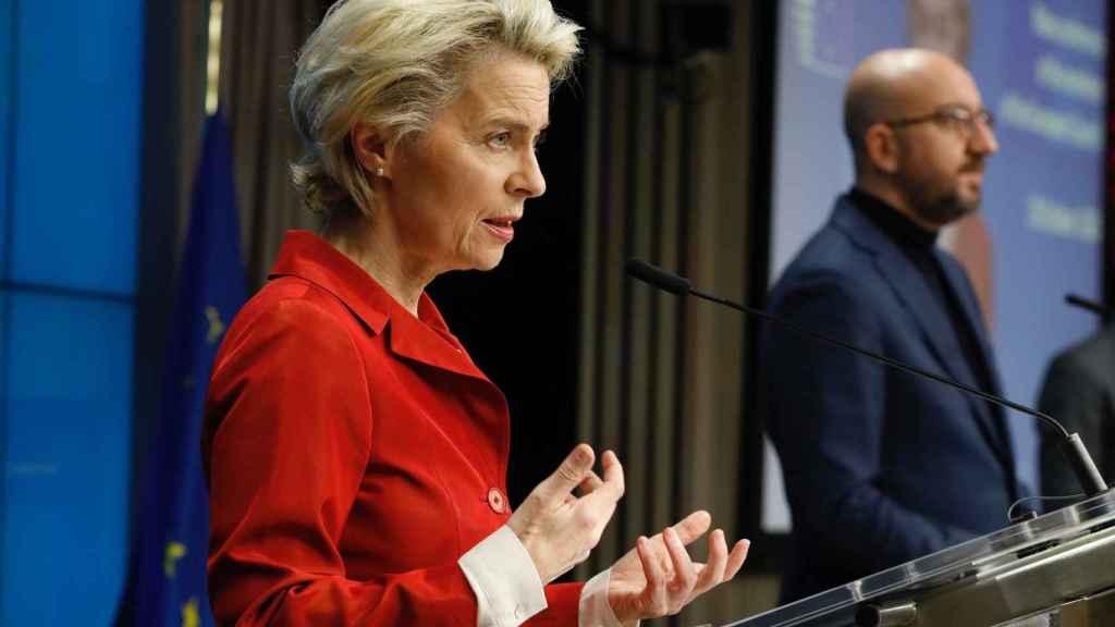 Ursula von der Leyen, durante la rueda de prensa tras la cumbre de este jueves