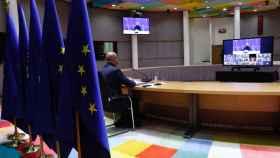 El presidente del Consejo Europeo, Charles Michel, durante una videocumbre.