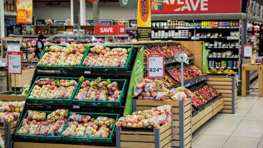 La frutería de un supermercado.