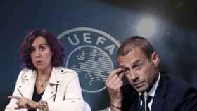 Irene Lozano, presidenta del CSD; Aleksander Ceferin, presidente de la UEFA