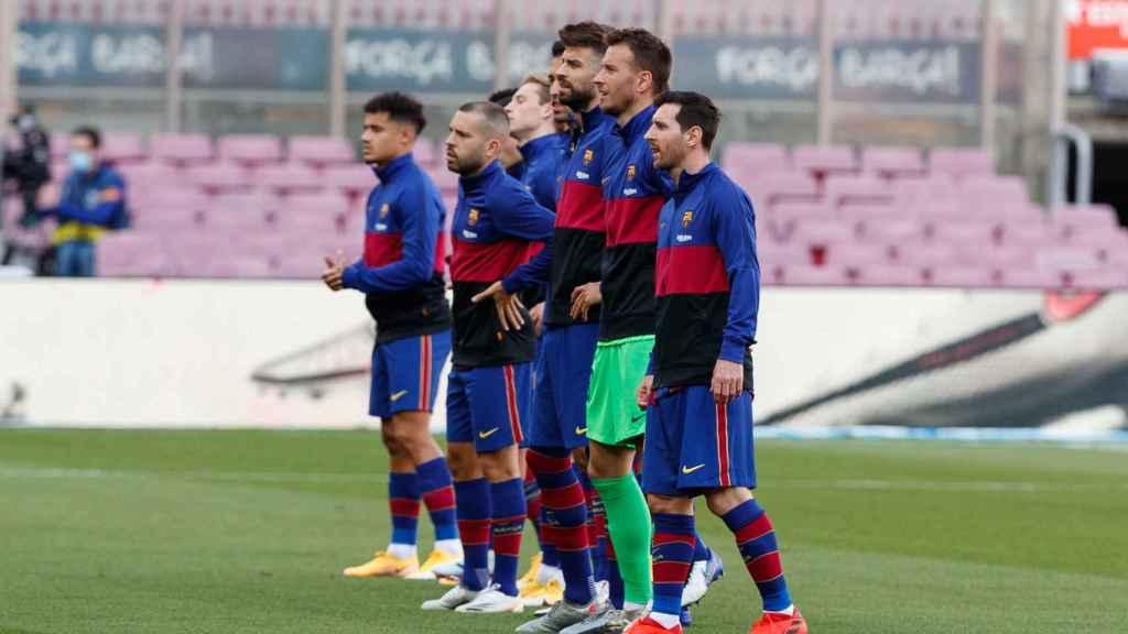 Los jugadores del FC Barcelona posando antes de un partido de La Liga