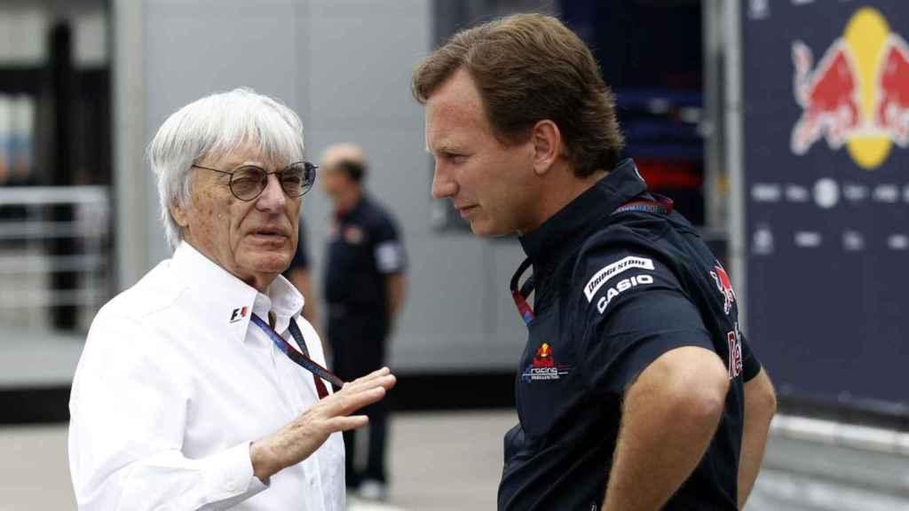 Bernie Ecclestone y Christian Horner durante un Gran Premio de Fórmula 1