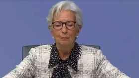 La presidenta del BCE, Christine Lagarde, en su comparecencia de este jueves.