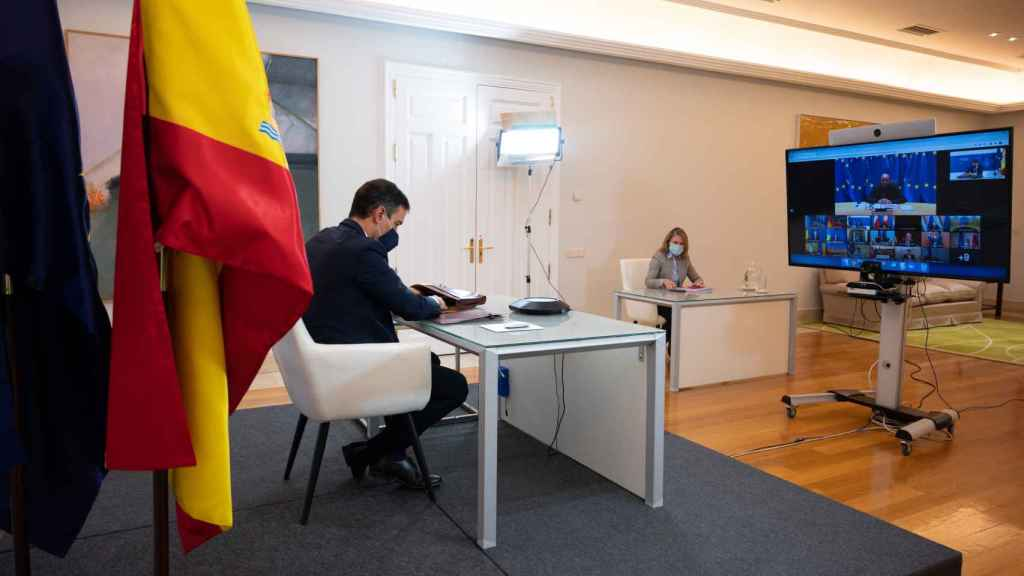 Pedro Sánchez, durante la videocumbre de la UE de este jueves