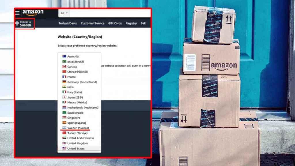 Amazon confunde la bandera de Suecia con la de Argentina en la apertura de su sitio web en el país europeo.