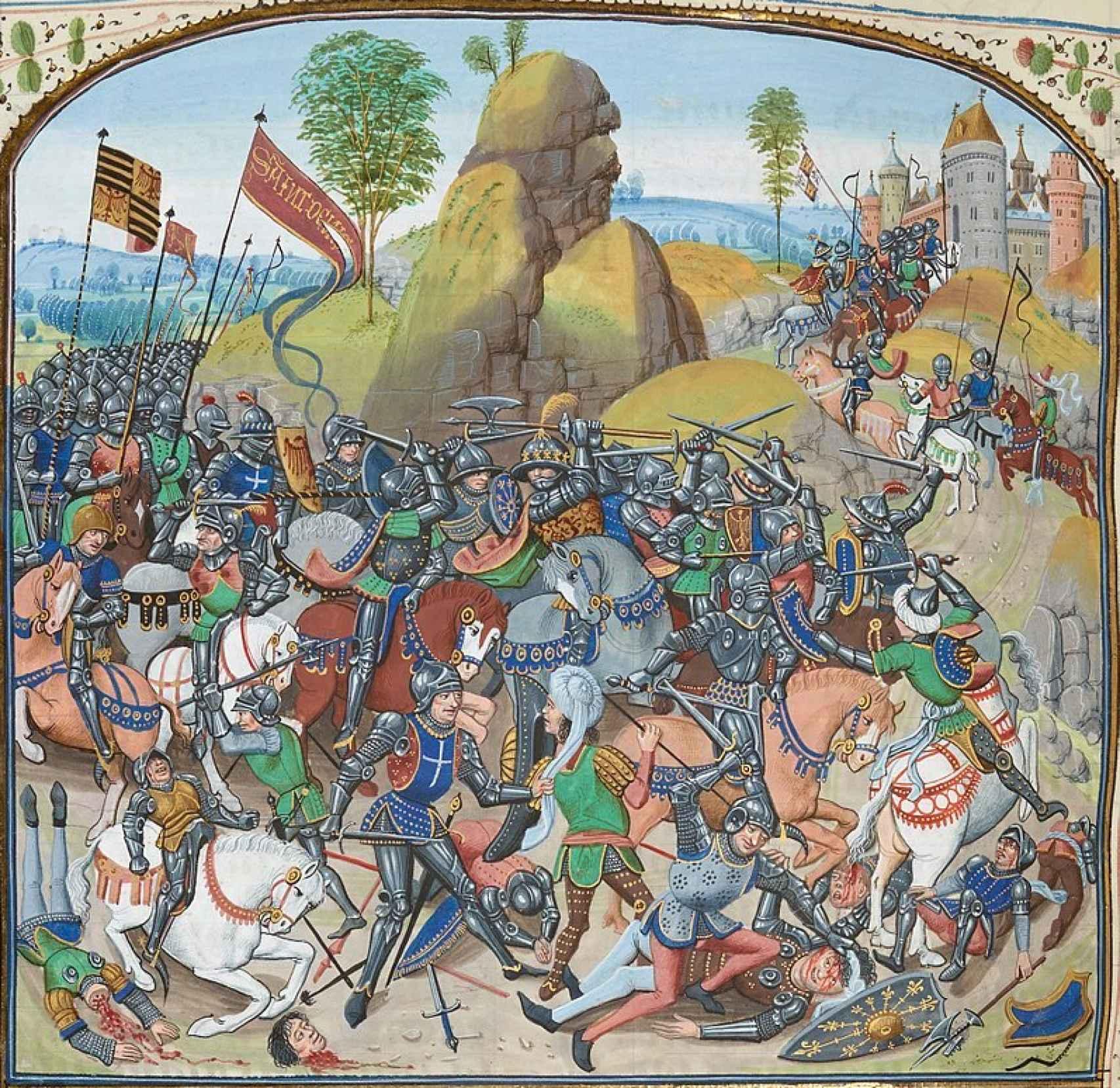 Ilustración del siglo XV de la batalla de Montiel.