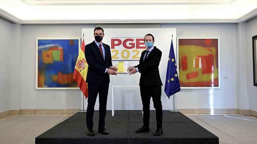 Pedro Sánchez y Pablo Iglesias, durante la presentación de los Presupuestos Generales del Estado.