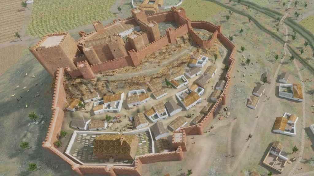 Reconstrucción virtual del castillo de La Estrella y la villa de Montiel en el siglo XIV.