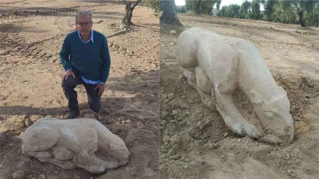 El agricultor Gonzalo Crespo y la leona íbera.