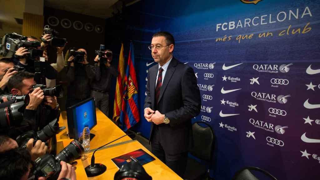 Bartomeu durante una comparecencia con el FC Barcelona