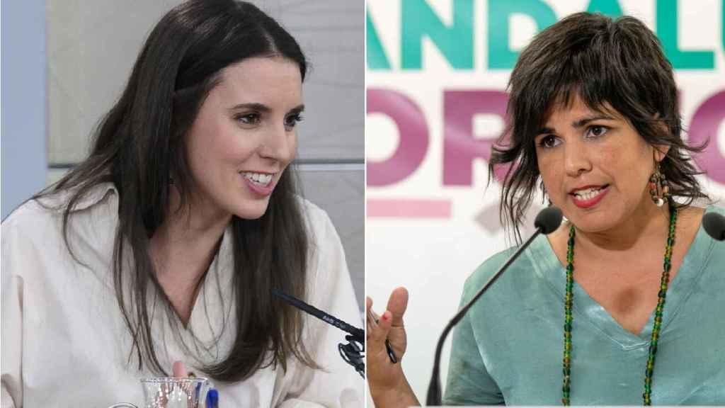 Irene Montero, ministra de Igualdad, y Teresa Rodríguez, líder de Adelante Andalucía.