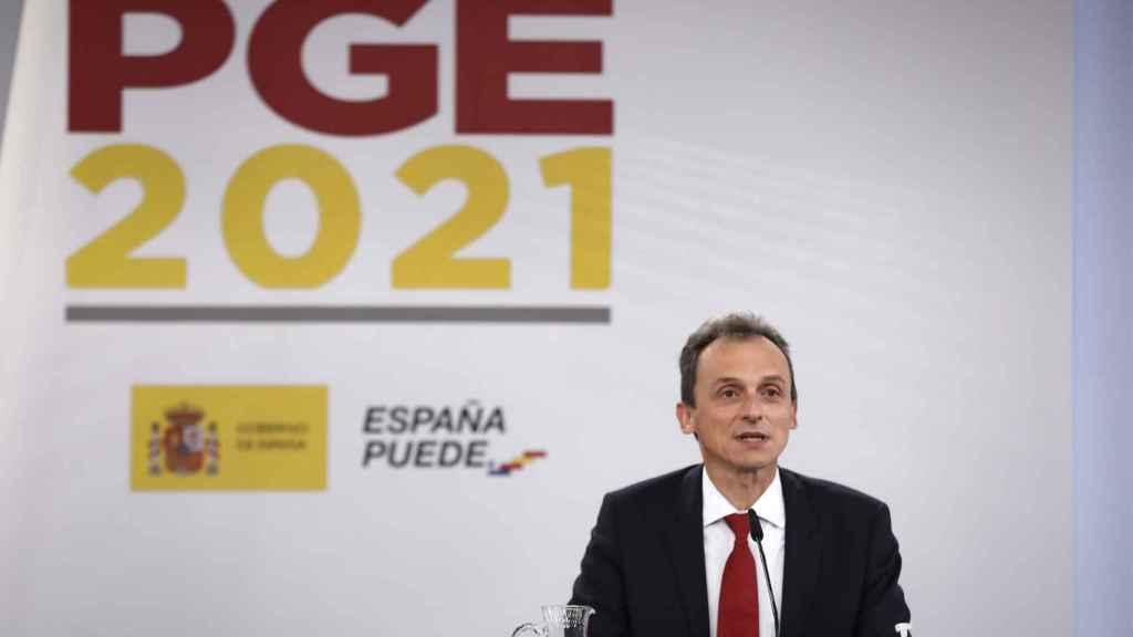El ministro de Ciencia e Innovación, Pedro Duque, durante la presentación de los Presupuestos para I+D+i-