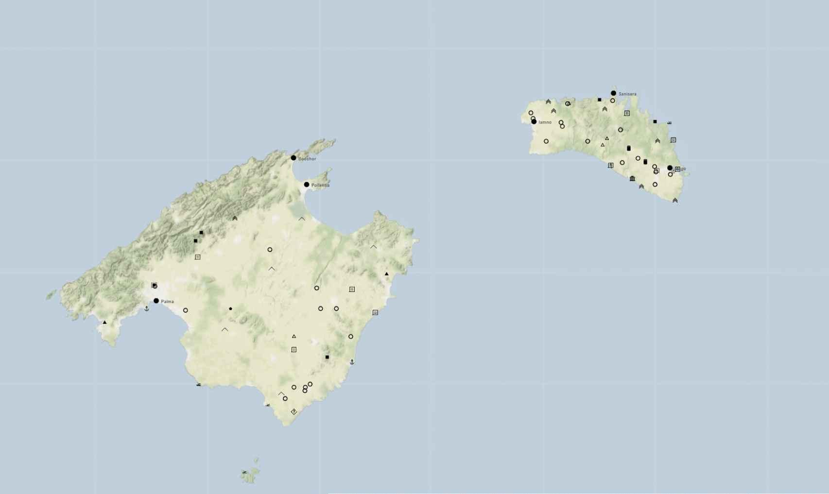 Sitios de época romana de las islas de Mallorca y Menorca introducidos en la TIR. El mapa permite intuir la diferenciación en la estructura del poblamiento en las dos islas.