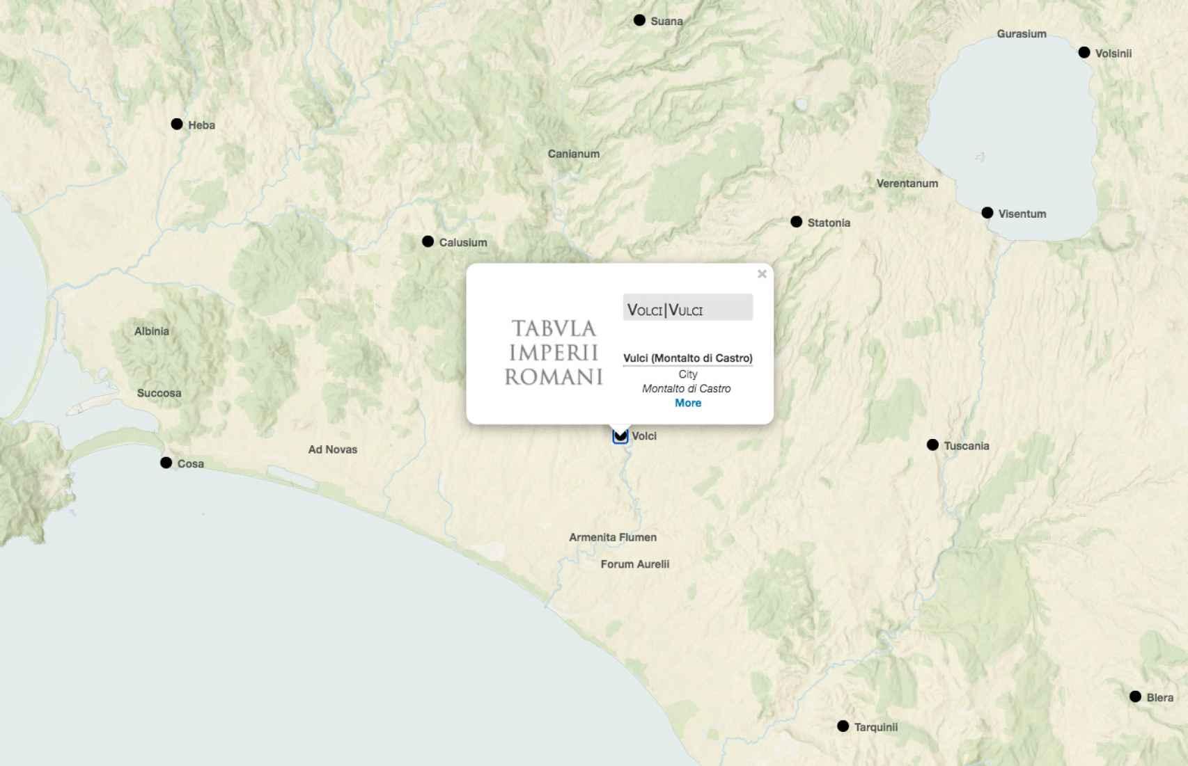Alguna ciudades romanas del centro de Italia.