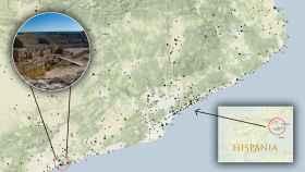 Todos los elementos romanos de la zona de Cataluña incluidos en el mapa.