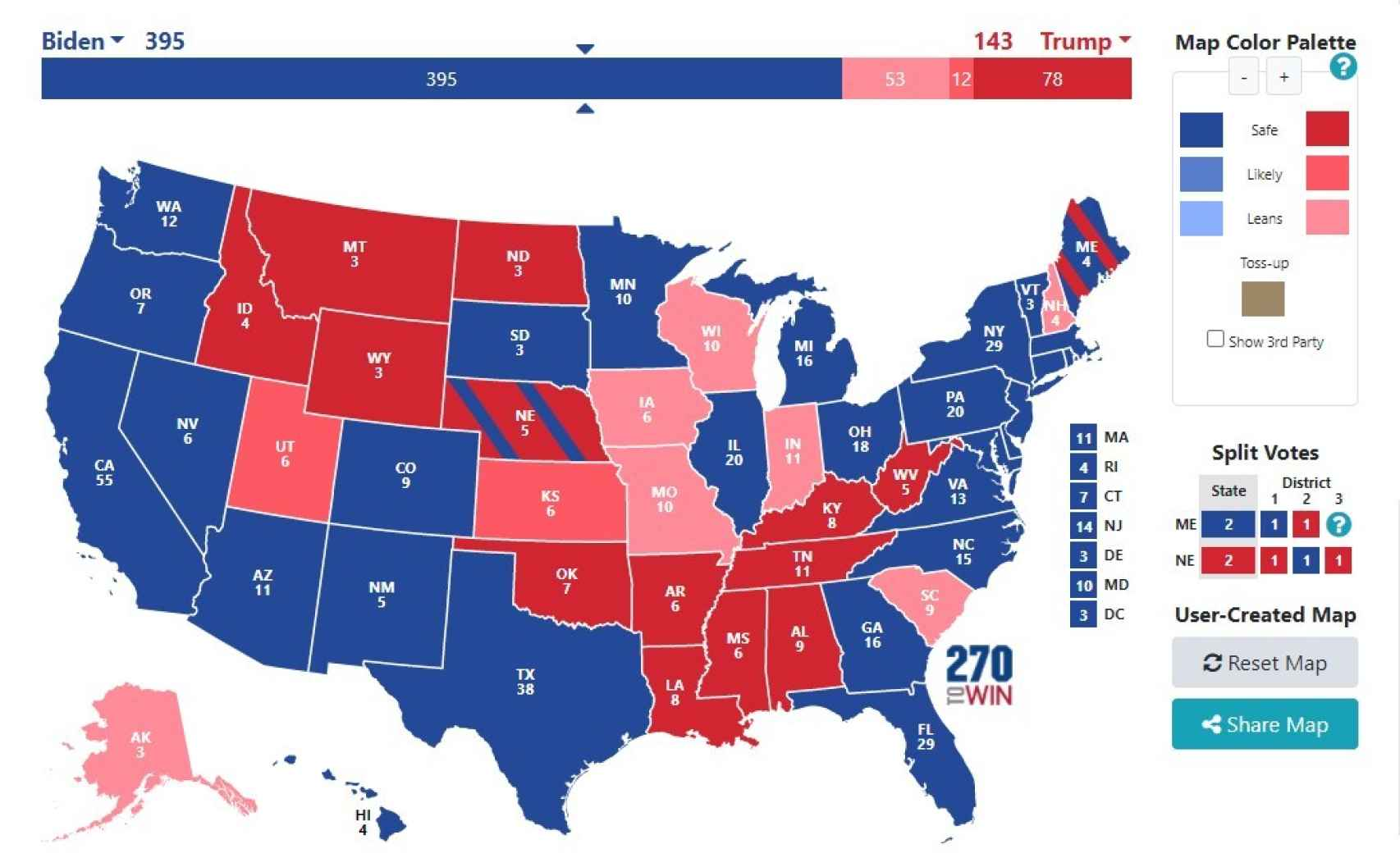 Posible resultado electoral si a Trump se le da muy mal la noche.