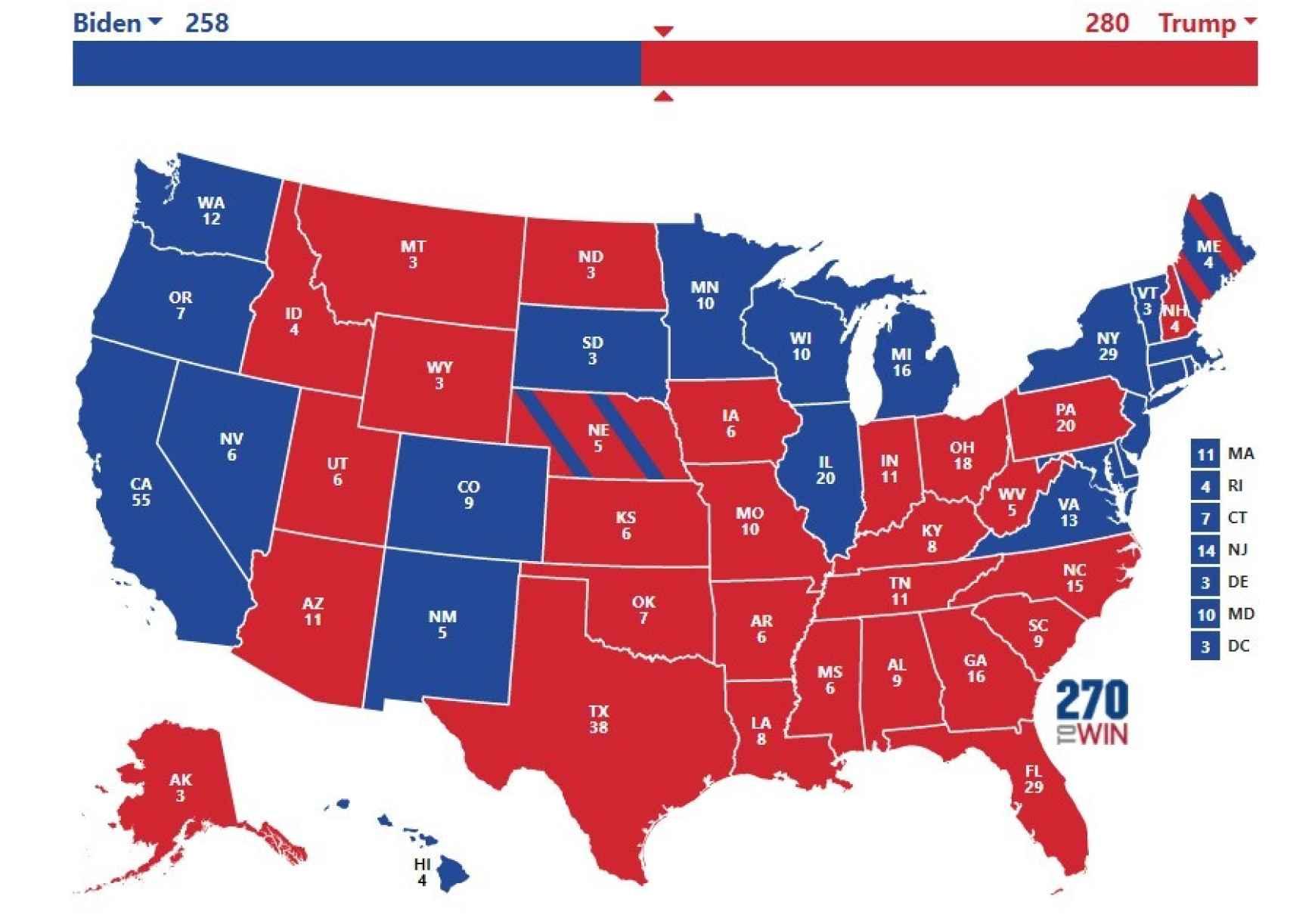 Posible resultado electoral si Trump da la vuelta a las encuestas y consigue los estados clave.