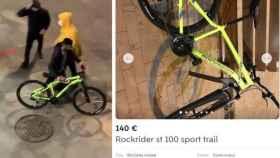 A la izquierda, la bicicleta sustraída durante el saqueo. A la derecha, el anuncio.