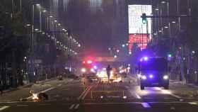 Disturbios en la Gran Vía de Madrid.