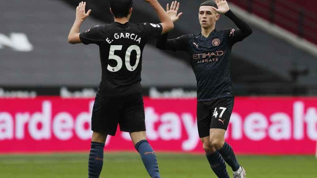 Eric García y Phil Foden, durante un partido del Manchester City