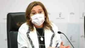 La consejera de Educación de Castilla-La Mancha, Rosana Rodríguez, este lunes en comparecencia de prensa. Foto: Óscar Huertas