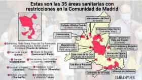 El mapa con las zonas confinadas a partir de este martes en la Comunidad de Madrid.