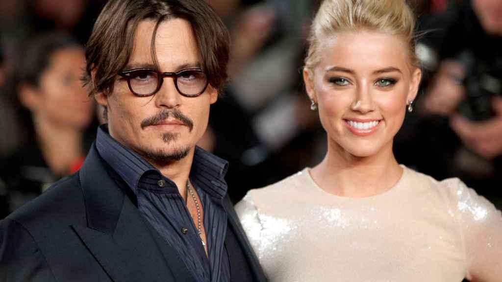 Los actores Johnny Depp y Amber Heard durante una presentación en Londres.