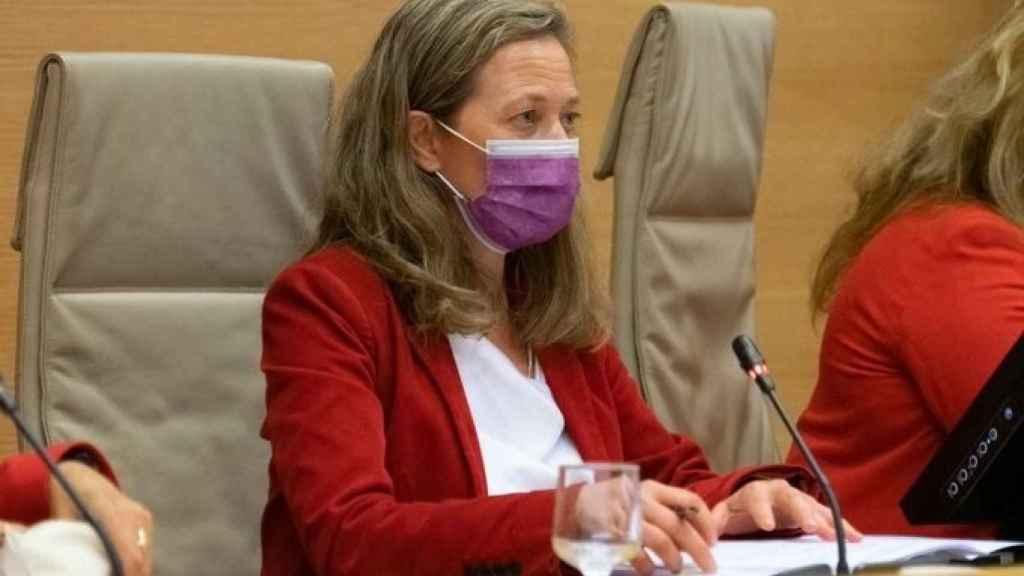 La delegada del Gobierno contra la Violencia de Género, Victoria Rosell, en la comparecencia de la Comisión de Seguimiento del Pacto de Estado de Violencia de Género del Congreso.