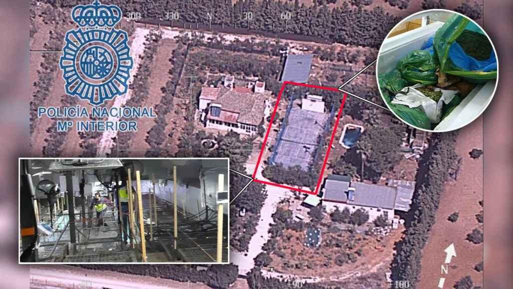 Imagen aérea del inmueble en el que se ocultaba la plantación de marihuana debajo de una pista de tenis.