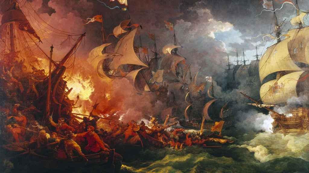 Derrota de la mal llamada Armada Invencible, pintado en el año 1796.