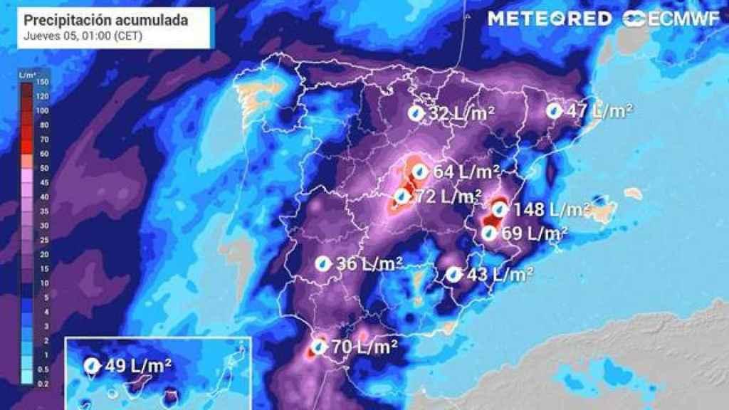 Precipitaciones acumuladas a final del próximo miércoles. METEORED