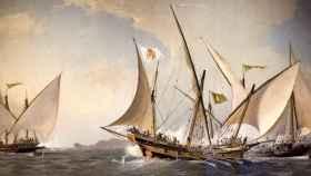 Combate entre jabeques, los corsarios por excelencia en el siglo XVIII en aguas mediterráneas.