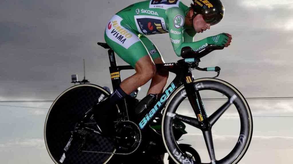 Primoz Roglic, durante la contrarreloj de La Vuelta a España 2020