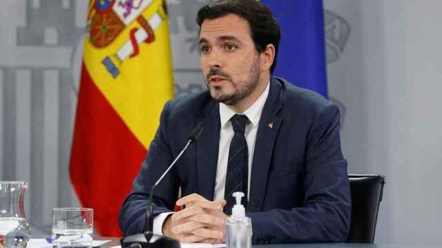 Alberto Garzón, durante la rueda de prensa tras el Consejo de Ministros