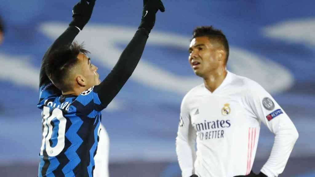 Lautaro Martínez celebra su gol al Real Madrid