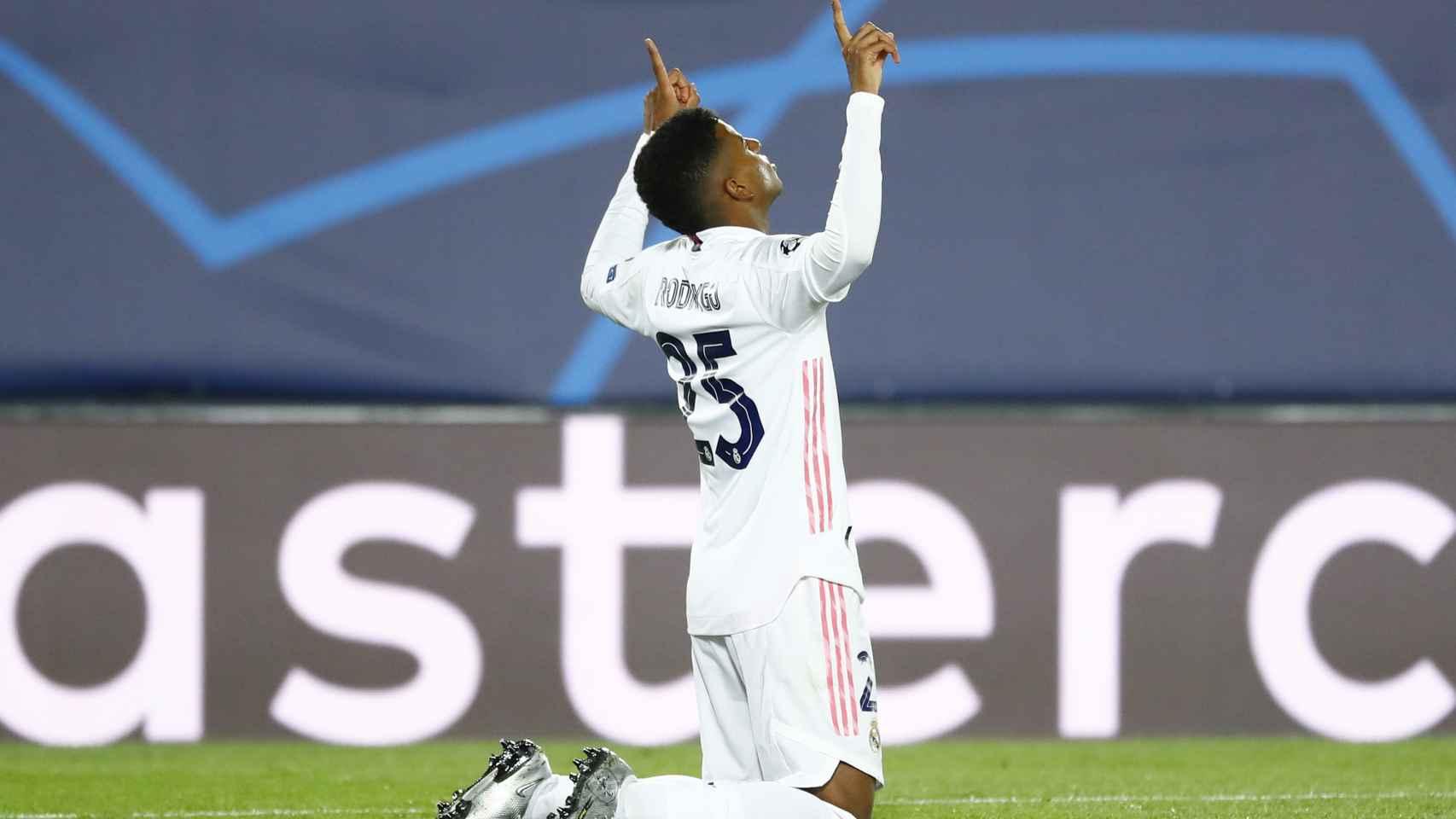 Rodrygo celebra su gol al Inter de Milán